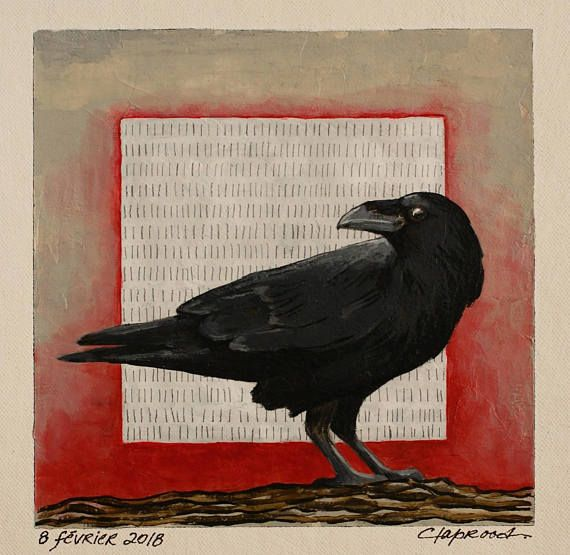 Raven painting black bird picture crow image small red and