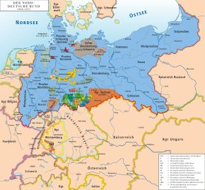 The North German Confederation was a federation of 22 independent states of northern Germany, with nearly 30 million inhabitants. It was the first modern German nation state and the basis for the later German Empire (1871–1918), when several south German states such as Bavaria joined. The North German Confederation is historically important for the economic and judicial unification of Germany; many of its laws were taken over by the German Empire.