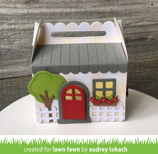 the Lawn Fawn blog: Lawn Fawn Intro: Scalloped Treat Box Spring House Add-On + Tiny Gift Box Bunny Add-On