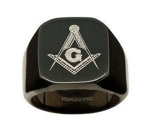 Amazon.com: Black Flat Face Stainless Steel Freemason Masonic Ring / Free Mason Masonry Members: Jewelry