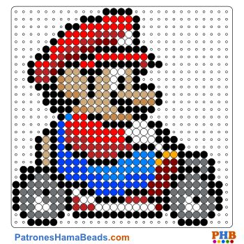 Mario Kart plantilla hama bead. Descarga una amplia gama de patrones en formato PDF en www.patroneshamabeads.com                                                                                                                                                                                 Más