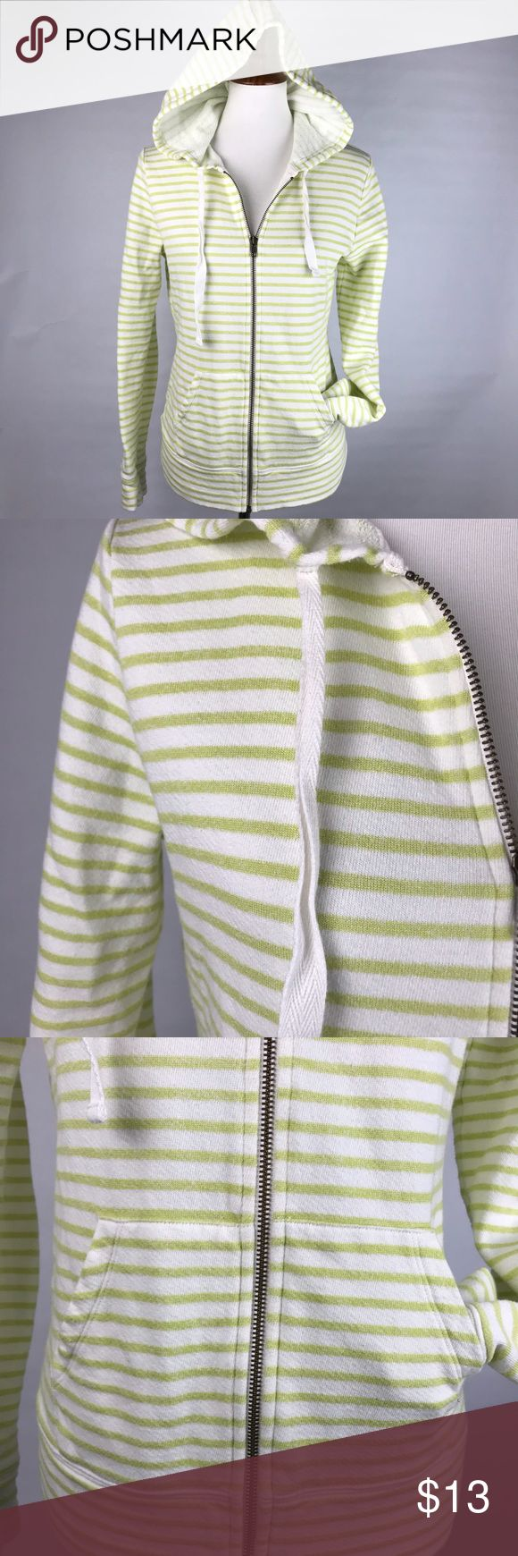 "CASLON green & white large striped zip up hoodie Super cute Caslon brand zip up hoodie! Terry cloth inside, outside is green/yellow (chartreuse) and white striped! Great condition.  Measurements taken laid flat: Bust 19"" across Length 24"" Caslon Tops Sweatshirts & Hoodies"