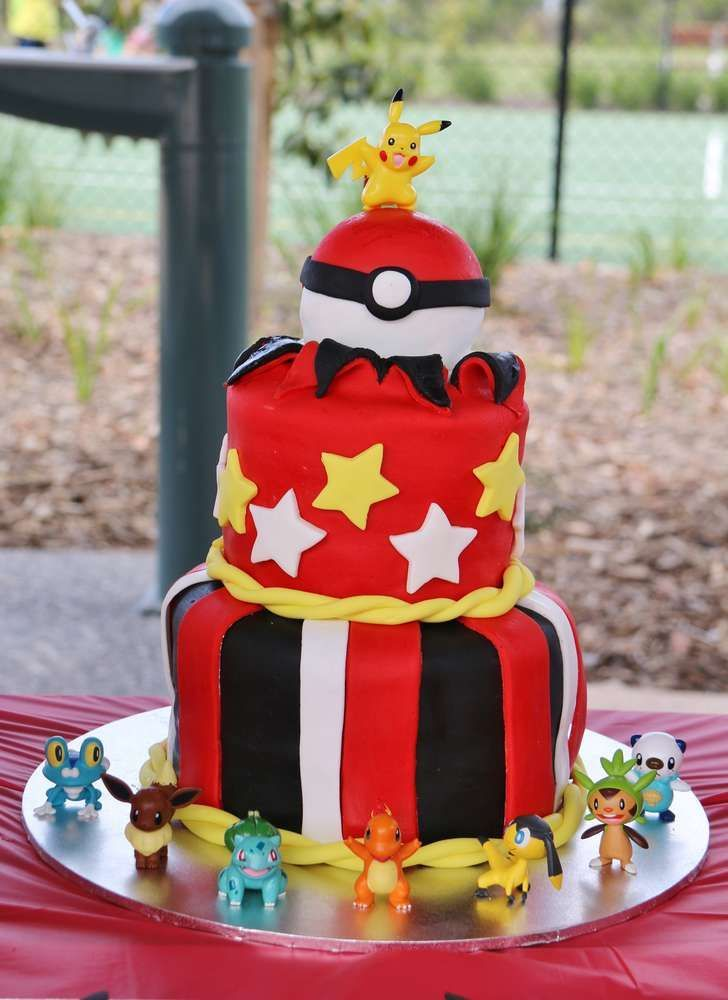 Pokemon Birthday Party cake!  See more party planning ideas at CatchMyParty.com!