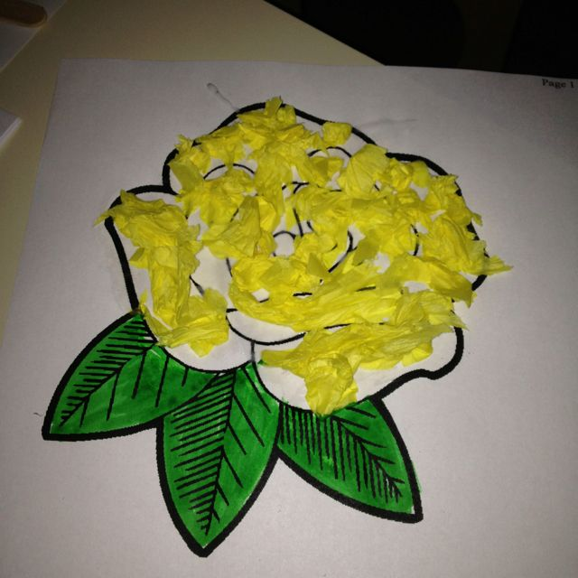 Yellow rose of Texas craft-- we used tissue paper for the petals