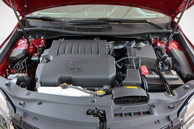 Under the hood of the 2015 Toyota Camry.