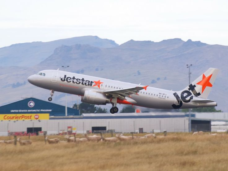 Jetstar A320 taking off from Christchurch  Type: Airbus A320-232 Registration: VH-VFJ Location: Christchurch International Airport Date: 24/12/2013