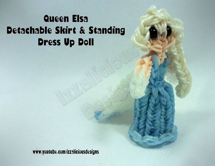 Rainbow Loom Queen Elsa Charm/Action Figure - Detachable Skirt and Stand Alone Dress Up Doll tutorial by Izzalicious Designs
