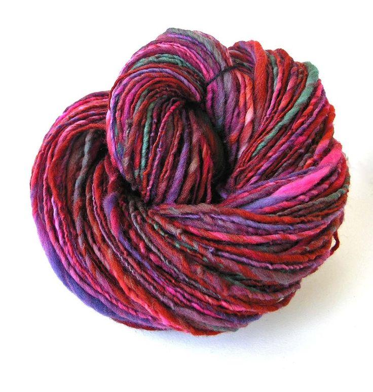 Handspun Yarn Hand Dyed Merino Wool Art Yarn Single Ply Thick and Thin Sport to Bulky Weight Art Yarn 210 yards Soft Unique – Burgundy Leaf   – Yarn