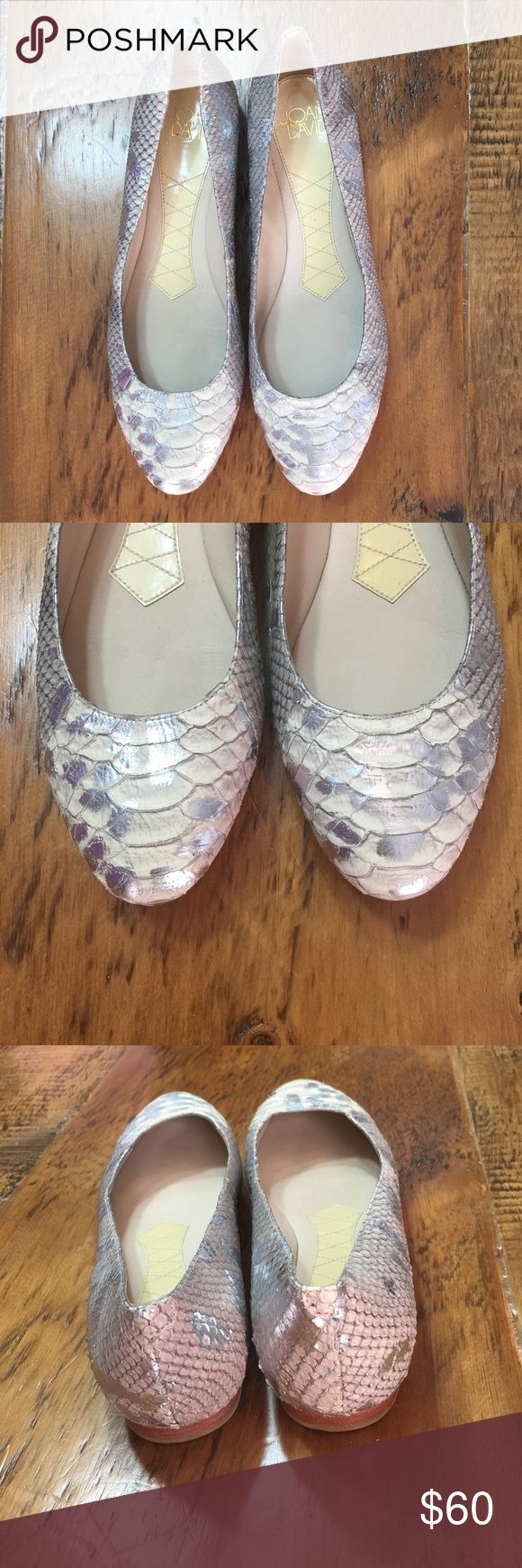 Joan David Faux Snake Skin Flat NEVER WORN! Joan David faux snake skin flat. Leather upper and sole. Color is a light gray with silver accents brushed spots. Joan David Shoes Flats & Loafers