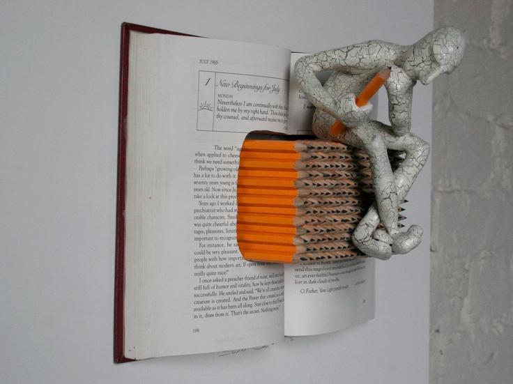 Writer's Block (Original Sculpture on White Claybord).