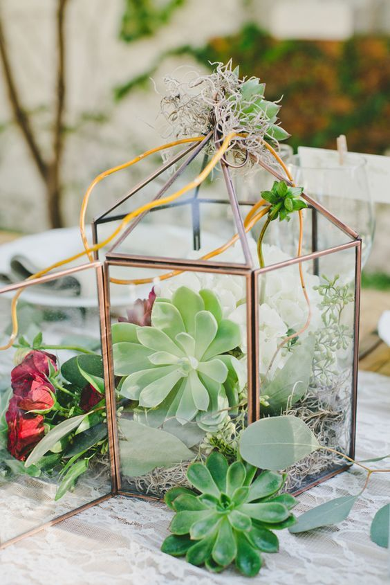 rustic succulent geometric lantern wedding centerpiece/ http://www.deerpearlflowers.com/ideas-for-rustic-outdoor-wedding/2/