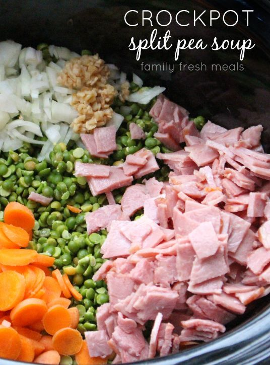 This Crockpot Split Pea Soup is as easy, and as satisfying, as it gets. Just chop up your veggies and some turkey bacon, dump them in the pot and press go.