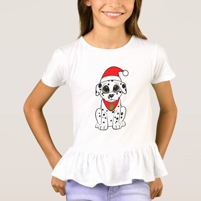 7bafc307b2e83 Dalmatian Puppy in a Santa Hat T-Shirt Custom  christmas holiday clothing.  Perfect gifts for  kids  baby  babies  toddlers