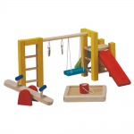 Plan Toys Dollhouse Playground-If I'm going to have a dollhouse, it will need a swing set.Wooden Dolls, Gift Ideas, Toys Dollhouse, Plantoy, Toys Playgrounds, Plans Toys, Dollhouse Furniture, Dollhouse Playgrounds, Dolls House