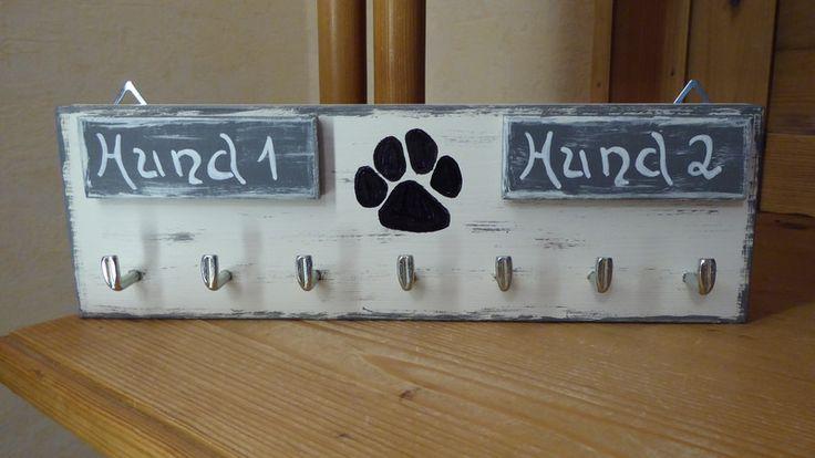 Hund: Leinen - Sonstige - Hunde Leinenhalter, für 2 Hunde mit Namen, Shabby - ein Designerstück von DekoHolzStube bei DaWanda
