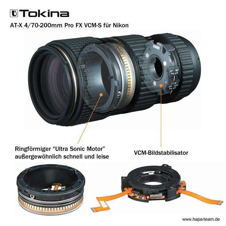 Tokina AT-X 4/70-200mm Pro FX VCM-S für Nikon - Das neue lichtstarke Telezoom-Objektiv von Tokina für Nikon-Vollformatkameras stellt eine interessante und technisch bestens ausgestattete Alternative dar. Es arbeitet mittels des neuentwickelten Ultra Sonic Motors außergewöhnlich schnell und leise, ist dank Bildstabilisator nicht aus der Ruhe zu bringen und äußerst kompakt konstruiert. Alles mit dem Ziel: knackige Kontraste, exzellente Schärfe, tolles Bokeh und dem Spaß am Fotografieren.