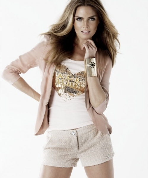 Jacky Luxury hemdje, in softpink met hart van pailletten.   FASHION OBSESSION
