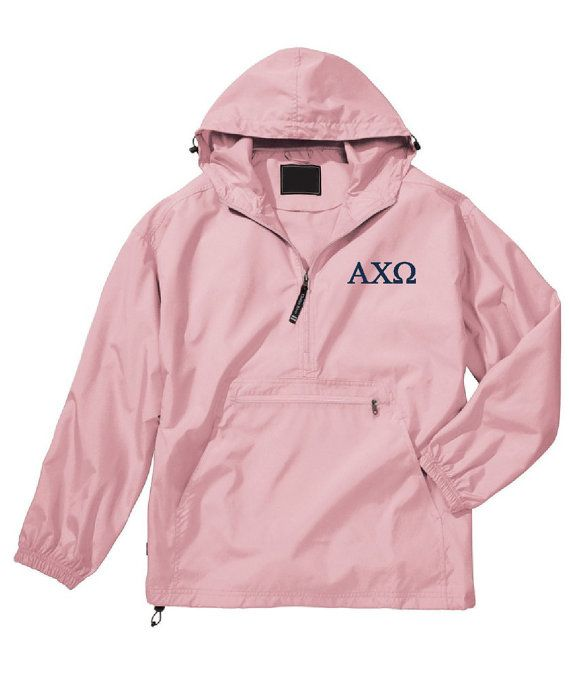 Alpha Chi Omega Unlined Anorak Pink by hyunich on Etsy monogrammed style letters?