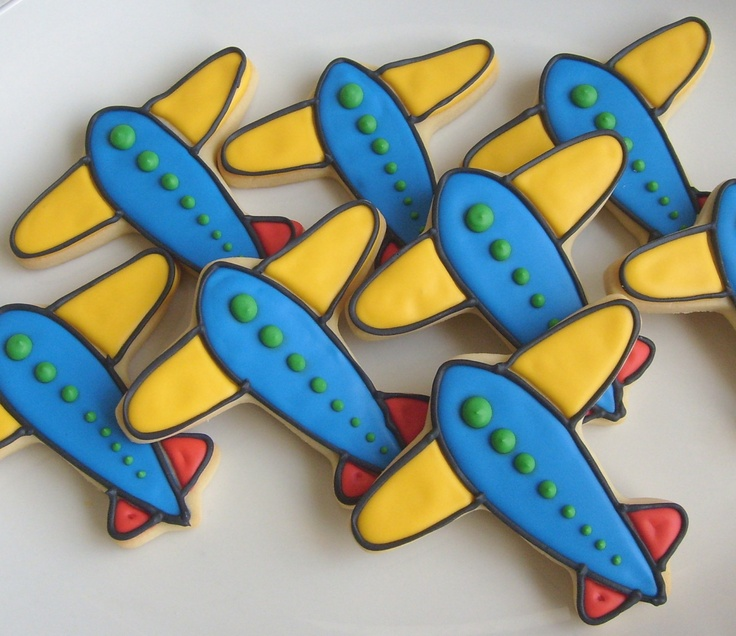 PLANES and TRAINS - Airplane Cookies - Train Cookies - Decorated Cookie Favors - 1 Dozen. $34.99, via Etsy.