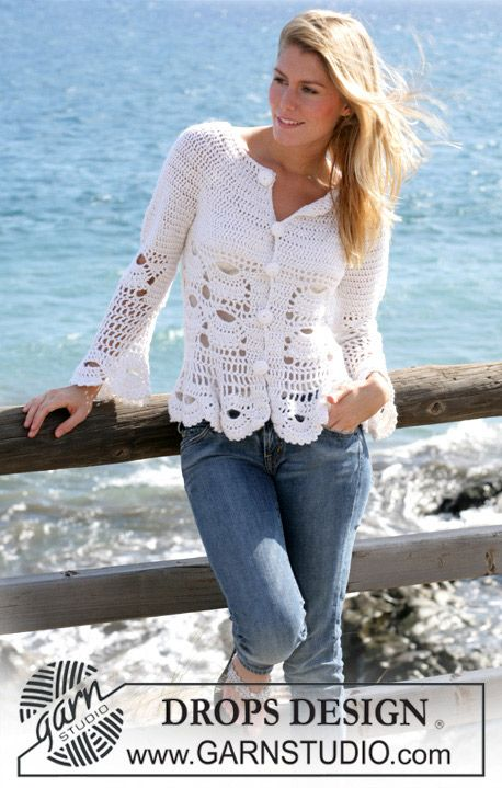 """DROPS crochet jacket with mussel pattern in """"Alpaca"""" and """"Cotton Viscose"""". Size S - XXL ~ DROPS Design"""