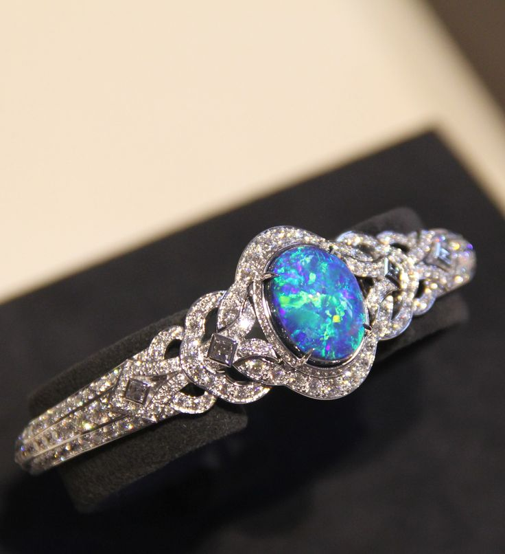 Louis Vuitton one of a kind Conquêtes bracelet with an 8.33 carat black opal and diamonds.