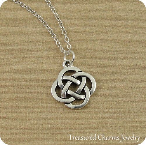 Celtic Knot Symbol Necklace, Silver Celtic Knot Charm on a Silver Cable Chain