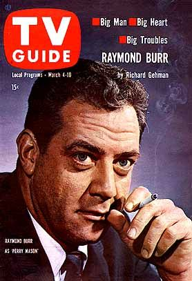 "Raymond Burr of ""Perry Mason"" on TV Guide Cover of March 4, 1961."