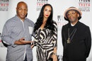 """This image released by Starpix shows, from left, former boxer Mike Tyson, his wife Kiki Tyson and director Spike Lee posing backstage after the curtain call for the opening night of """"Mike Tyson: Undisputed Truth,"""" Thursday, Aug. 2, 2012 at the Longacre Theatre in New York. The one man show starring Tyson was directed by Spike Lee, and written by Kiki Tyson. (AP Photo/Starpix, Amanda Schwab)"""