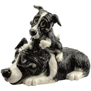 Arora Design - Little Paws - BORDER COLLIE & PUP Dog Figurine