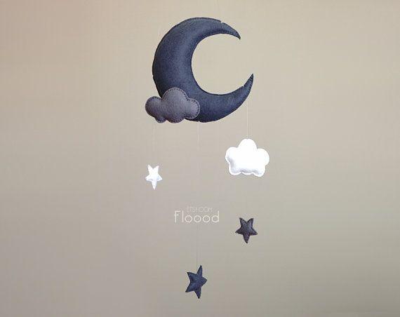 Mobile pour bébé lune, étoiles Nursery décor, Mobile pour chambre d