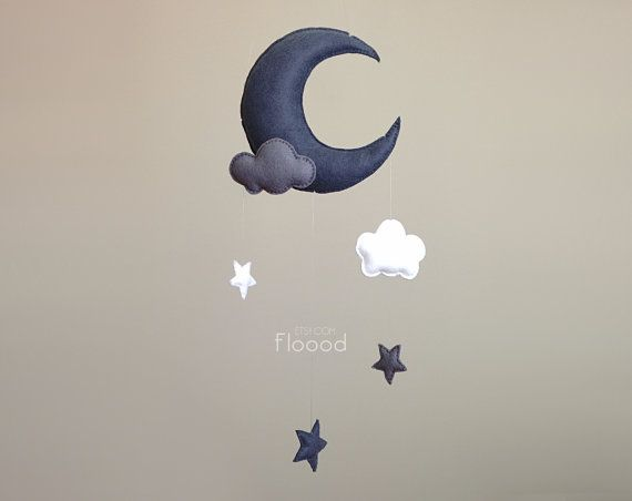Moon Baby Mobile Stars Nursery Decor Clouds Baby by BubblyMoon