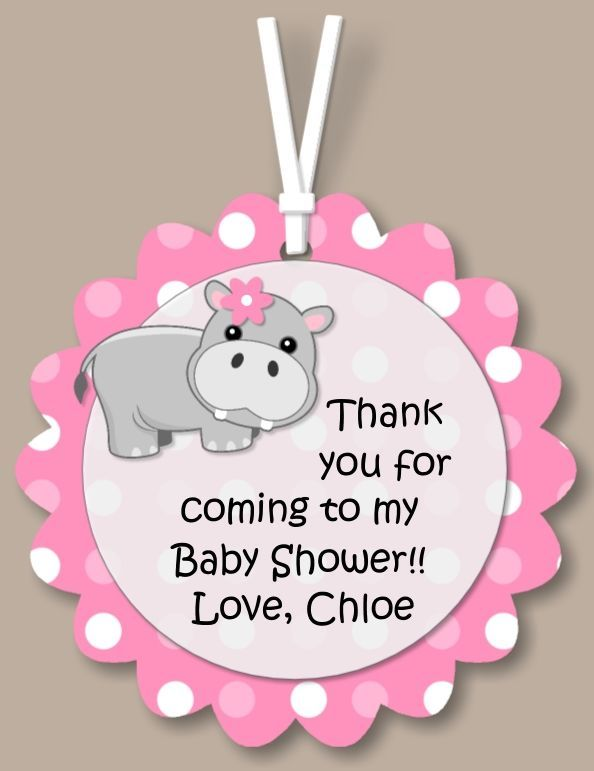 Pink Hippo Baby Shower | 12) pink hippo GIFT TAGS would be cute for any birthday party or baby ...