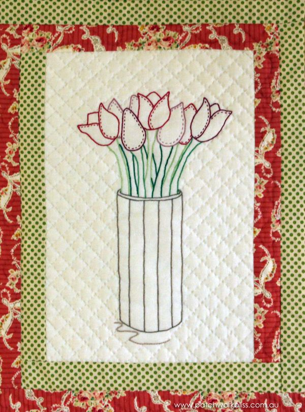Tulip Block from Pick-a-Posy Quilt. The pattern is available from http://www.patchworkbliss.com