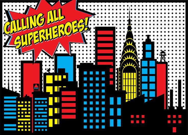 Superhero City Backdrops Noah's superhero birthday