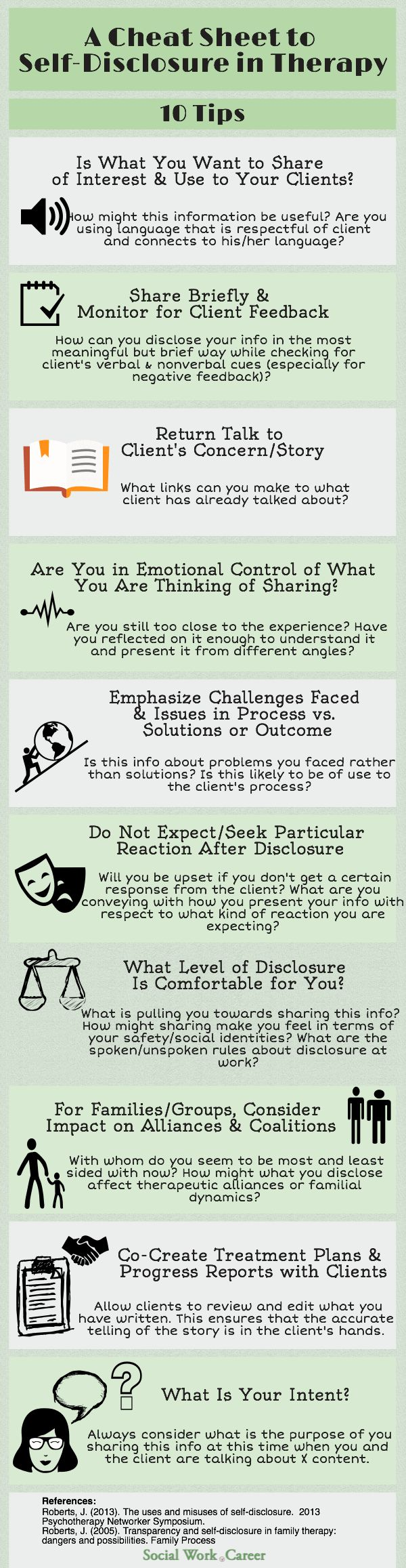 The Art of Self-Disclosure in Therapy < how to decide how much (or how little) to share; it's very tricky.