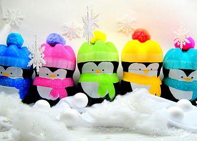 penguins from plastic soda bottles