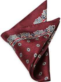 Joseph Abboud Burgundy & Blue Paisley Pocket Silk