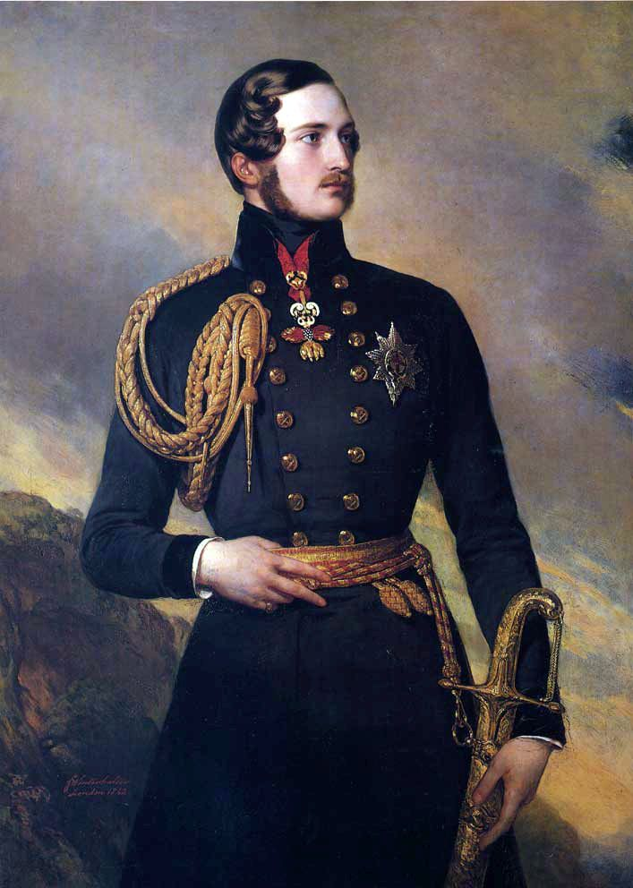 Prince Albert of Saxe-Coburg and Gotha at age 23, wearing the Golden Fleece. Painted by Franz Xaver Winterhalter in 1842.