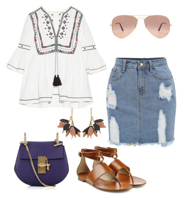 """weekend"" by camilabricattet ❤ liked on Polyvore featuring Talitha, Chloé, Michael Kors, Marni and Ray-Ban"