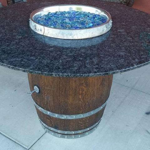 Wine Barrel Fire Pit with hidden propane tank.