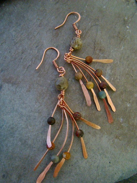 feathery wires hammered flat Artisan Copper Metalwork Jasper Bead Earrings FREE SHIPPING $18.00 by shawna