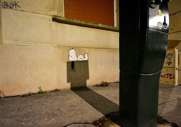 A Shadowy Snoopy on the Streets of Saint-Etienne, France by OakOak
