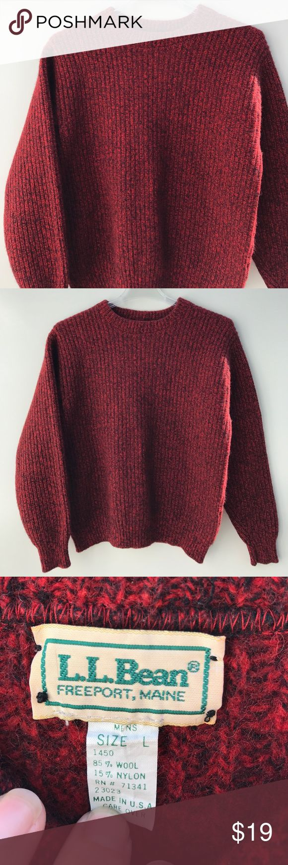 "L. L. Bean Wool Sweater Men's Wool sweater size Large. 85% wool, 15% nylon. This has been worn but is in nice shape! Shoulder to hem: 26"", inner sleeve: 21"", pit to pit: 23"". This could be worn by a man or woman but it says men on the tag. L.L. Bean Sweaters Crewneck"