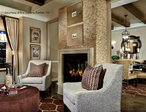 Solterra Living Room, talk about texture, it's the topic of conversation in this Colorado model home. Solterra, Toll Brothers, Lakewood, CO