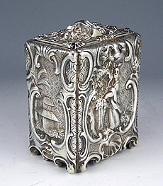 Rare George and Charles Fox English Sterling Rococo Tea Caddy