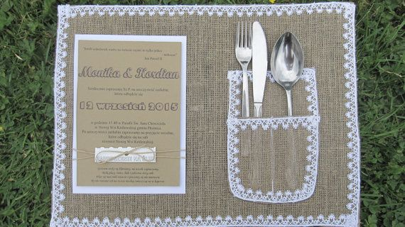 Burlap PLACEMAT Wedding Table Decorations Lace by moniaflowers