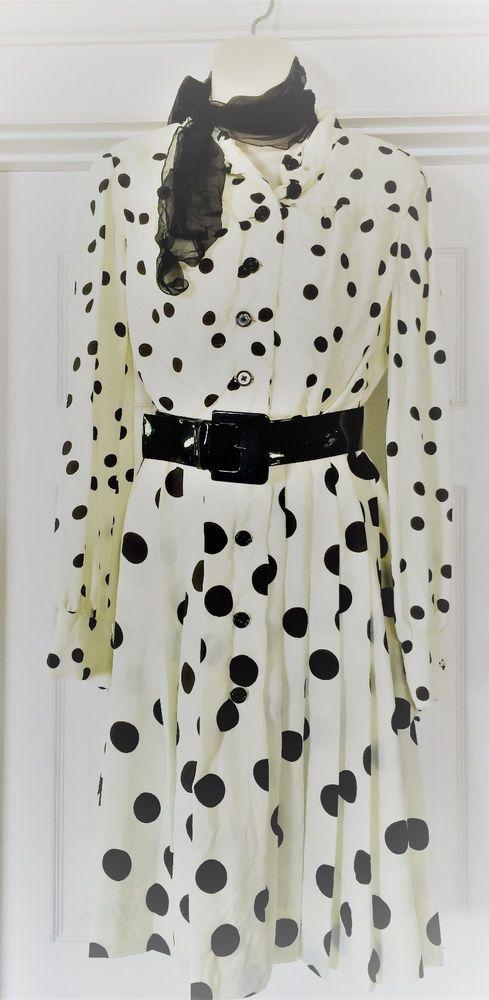 Vintage 50'S Dress Polka Dots, Joan Leslie By Kasper, Retro Style, Silk, Size 10 #joanlesliebykasper #retro #Party