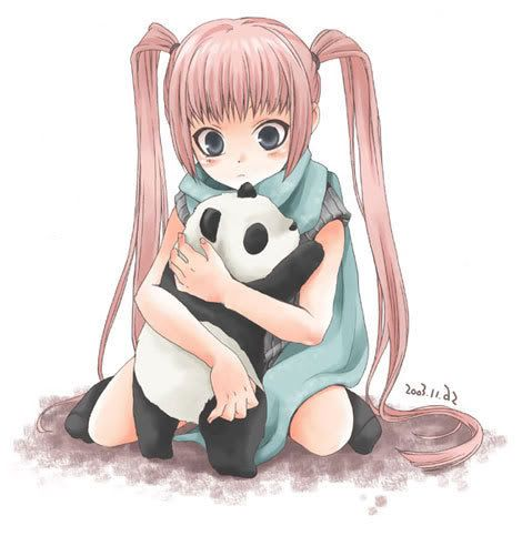 Anime girl with panda.                                                                                                                                                                                 Mais