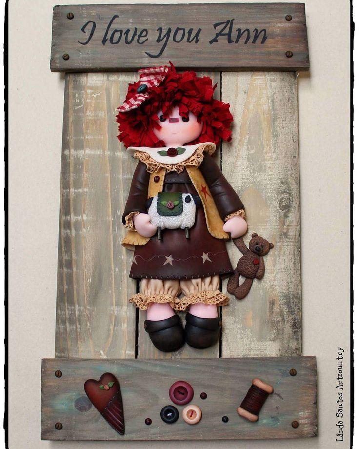 "76 Me gusta, 4 comentarios - @lindasantos.artcountry en Instagram: ""Raggedy Ann  Biscuit Country  #coldporcelain#porcelanafria#sewing…"""