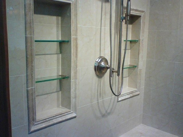 Recessed Shelves In Shower.